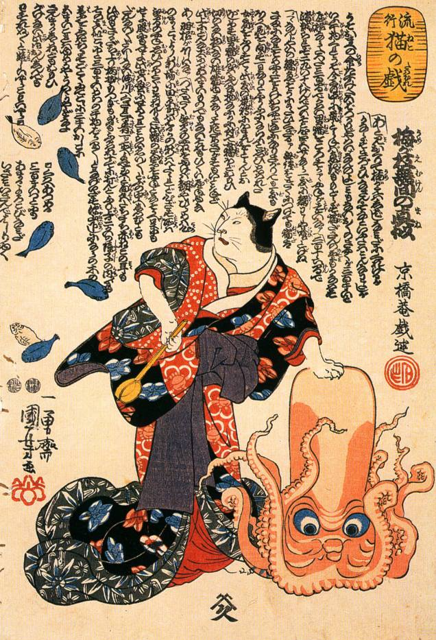 A_cat_dressed_as_a_woman_tapping_the_head_of_an_octopus
